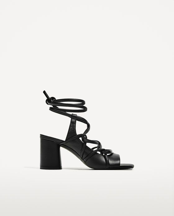 7a240730f6714b Image 2 of LEATHER STRAPPY HEELED SANDALS from Zara