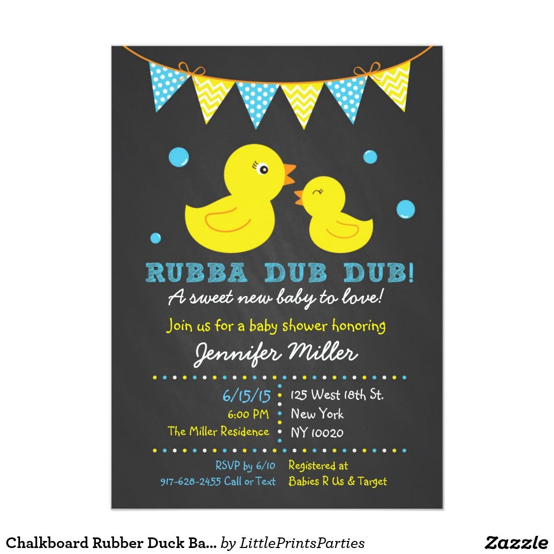 Chalkboard Rubber Duck Baby Shower Invitation | Duck baby showers ...