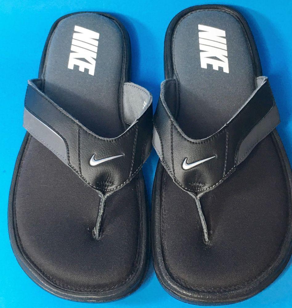 New Mens Nike Comfort Flip Flop Sandals Black Size 11 Padded ...