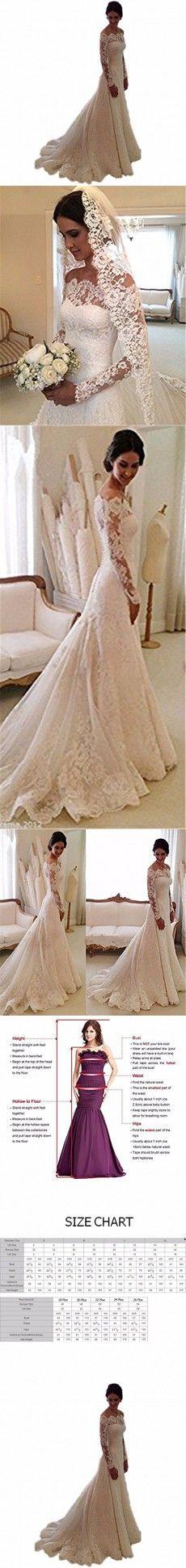 Arrowder Vintage Long Sleeves Beteau Lace Mermaid Wedding Dresses 2016 US Size 8 Ivory
