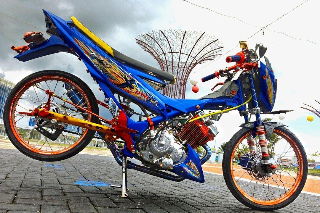 50 Foto Gambar Modifikasi Satria Fu Thailook Terbaik Terkeren Air Brush Kontes Drag Bike Com Gambar Motor Biru