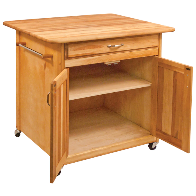 Catskill Craftsmen Brown Wood Base With Birch Butcher Block Top Kitchen Island 30 In X 36 In X 34 5 In Lowes Com In 2020 Kitchen Island With Butcher Block Top Furniture Disposal Kitchen Tops