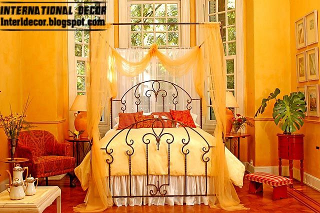 iron bed design with yellow bed curtain iron bed for interior bedroom - Yellow Canopy Interior