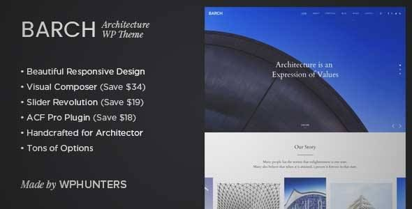 download and review of barch architecture portfolio wordpress