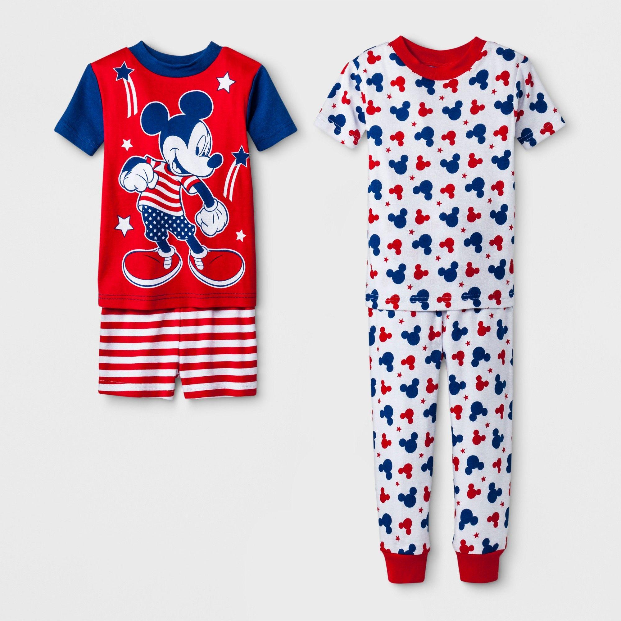 808da4990 Toddler Boys  Mickey Mouse 4pc Pajama Set - Red 2T