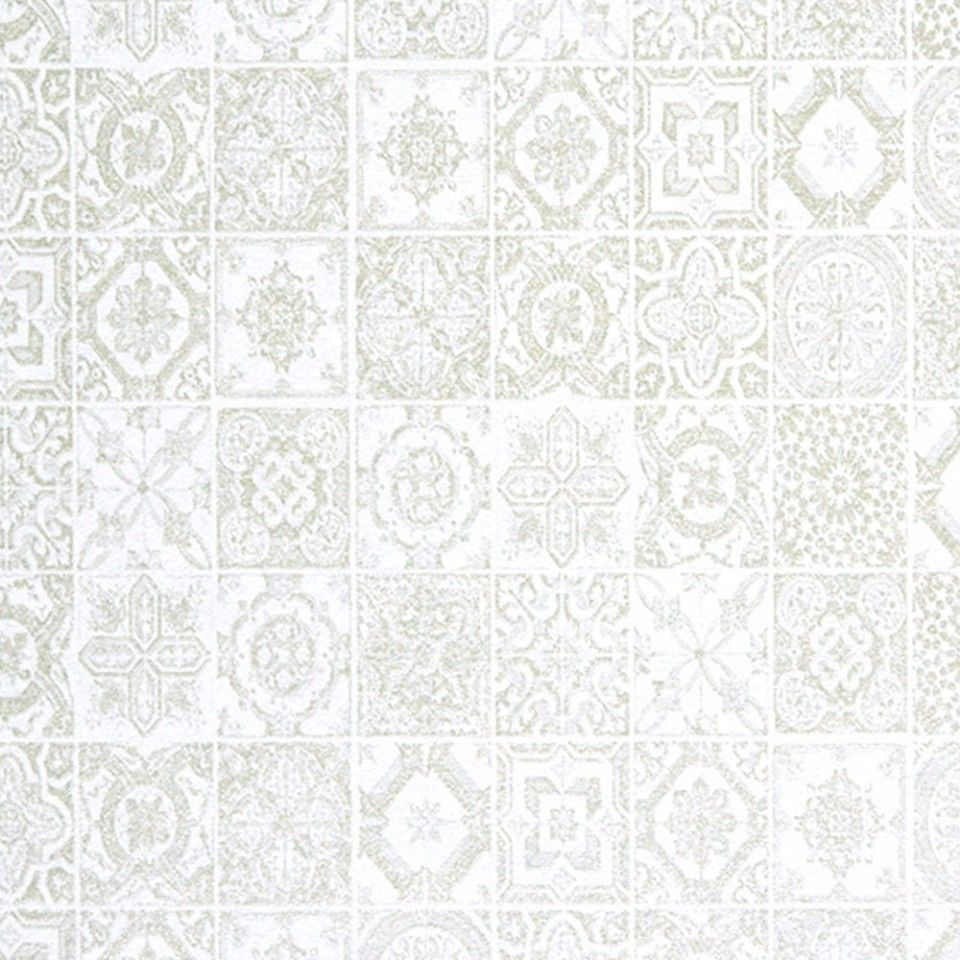 Papel pintado casadeco sowall 2 swl26110123 azulejo for Papel pintado blanco y plata
