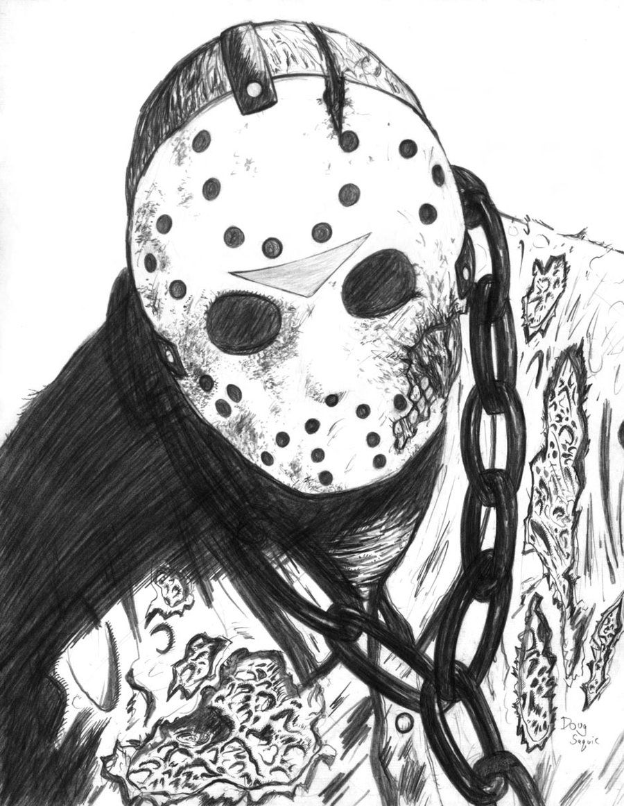 Friday The 13th Part 7 Jason Jason Voorhees Drawing Friday The 13th Scary Art