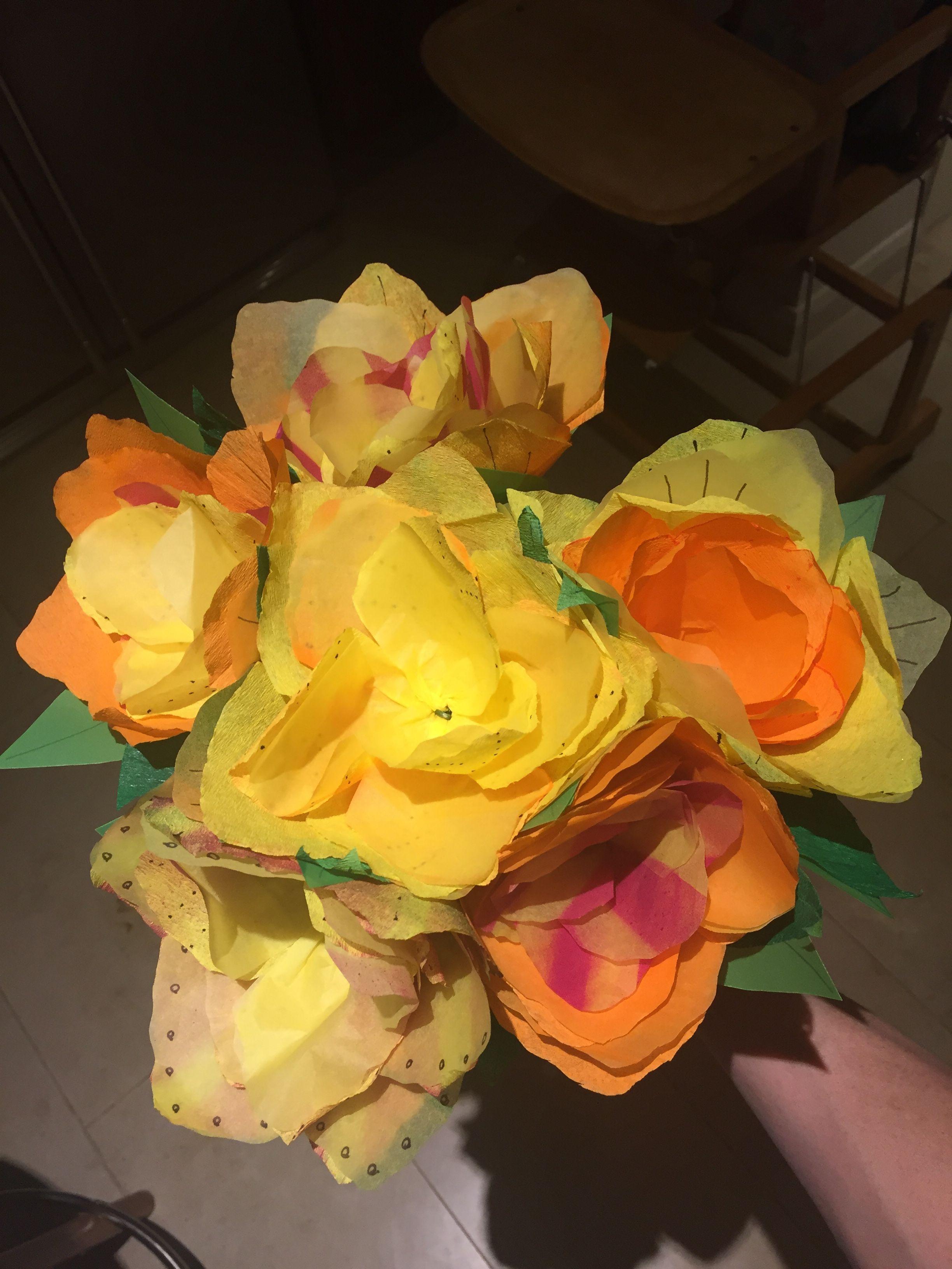 Making the scenery. #Handmade #paperflowers for Audrey\'s wonder ...
