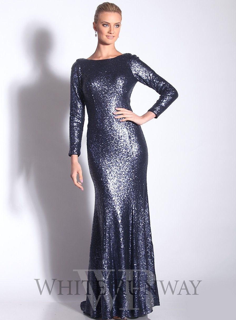 Long sleeve sequinned dress with train by jadore a showstopping