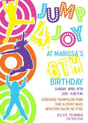 Trampoline Invite Meghilys Printables Pinterest Trampolines