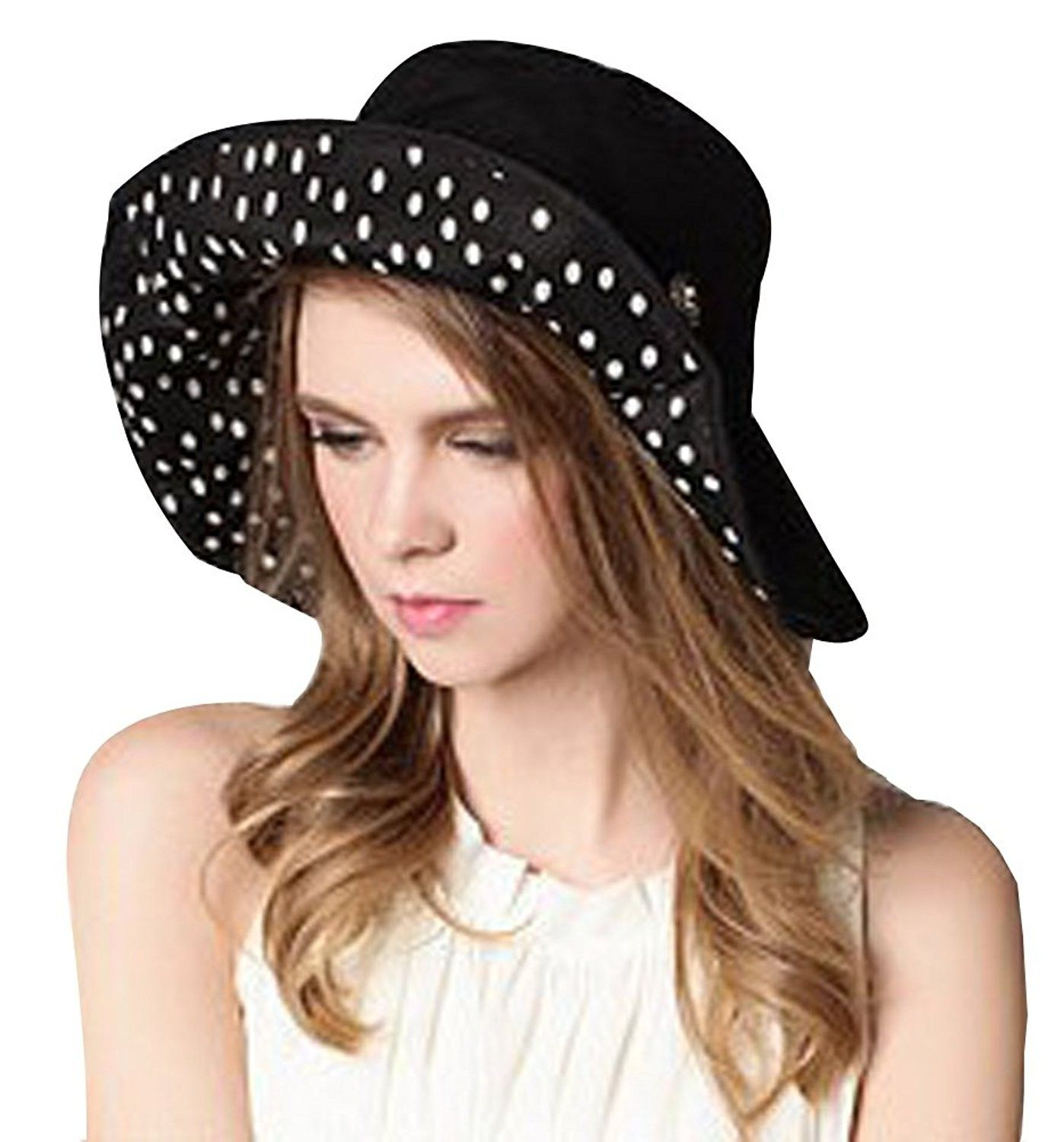 fbca4ce87ed Womens Large Brim Floppy Foldable Roll up UPF 50+ Beach Sun Hat ...