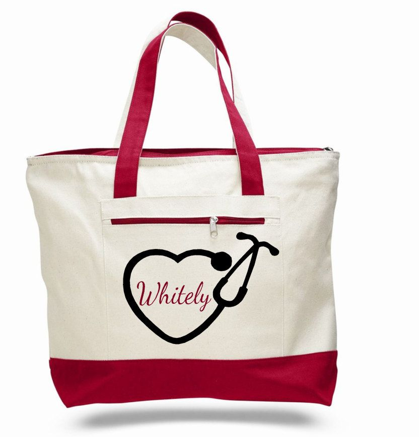 Nurse Bag Nursing Tote Personalized Name Monogram Gift For Canvas Stethoscope Heart By Elainescrafts On