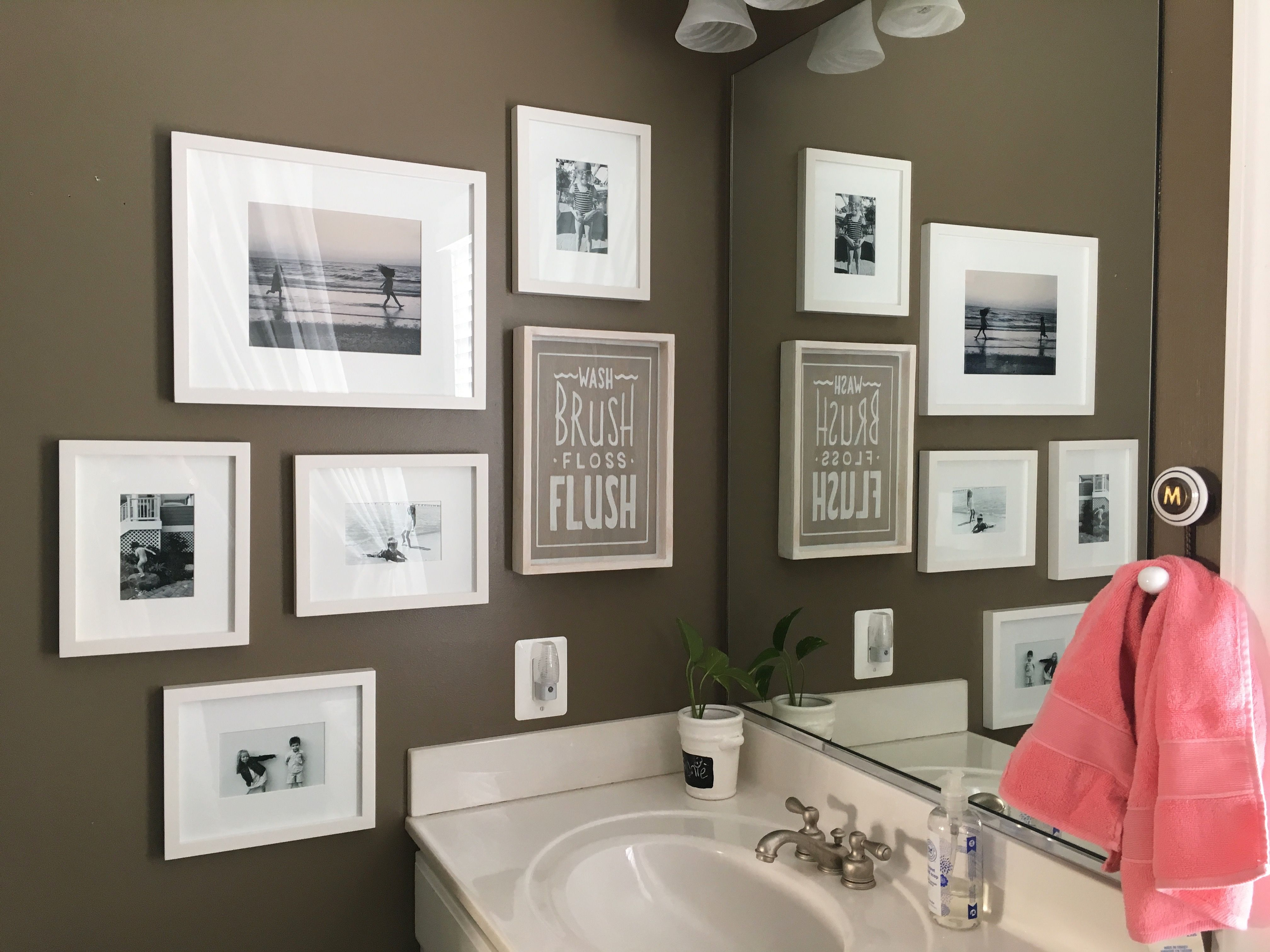 Kids Bathroom Wall Gallery With Basic White In White Frames Kid