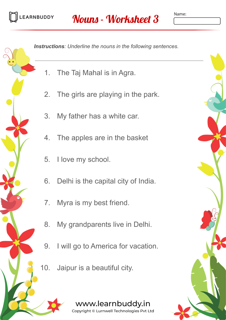 English worksheets for Class 1 (Nouns, Verbs, Pronouns