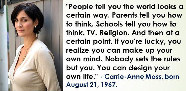Carrie-Anne Moss, born August 21, 1967  #CarrieAnneMoss