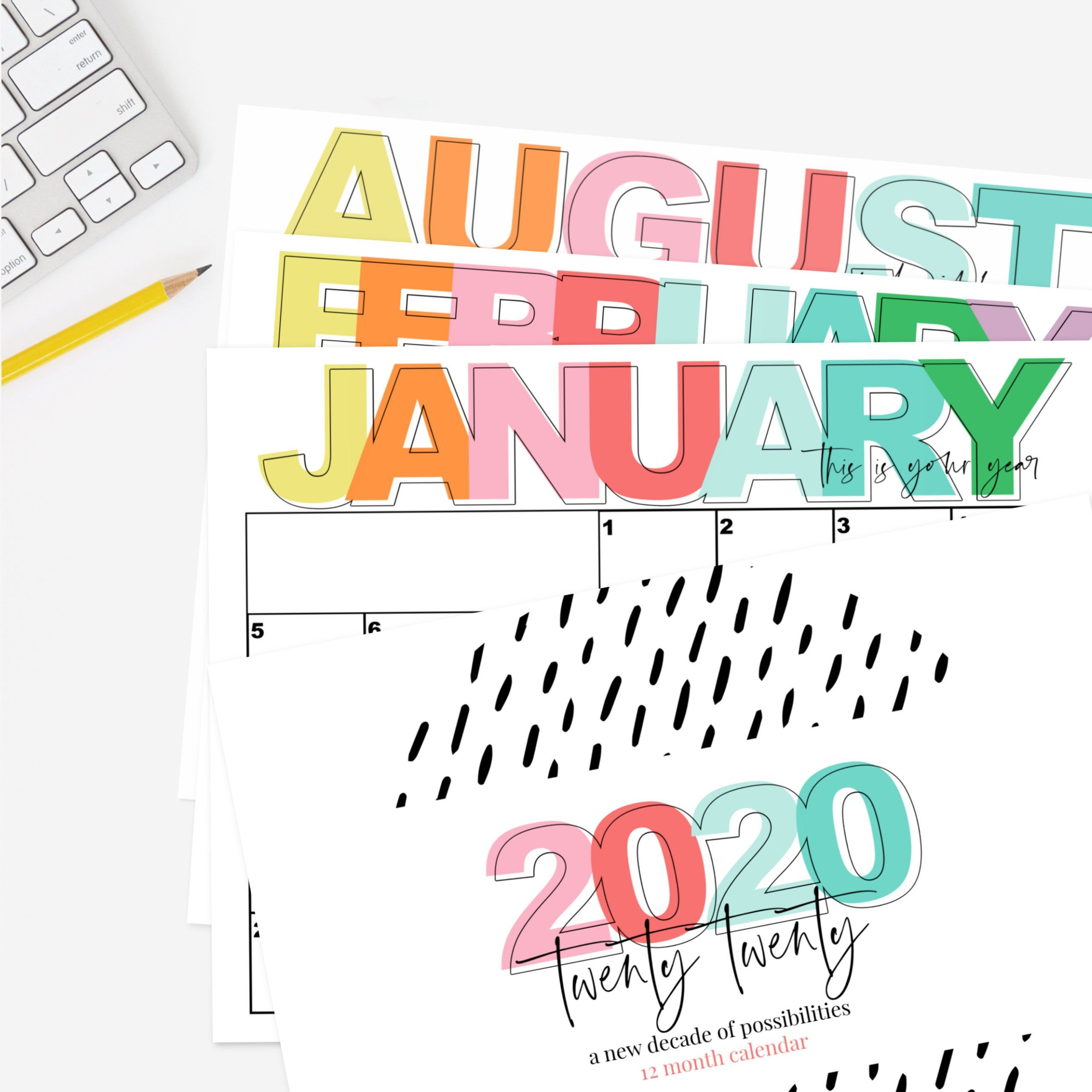 2020 Printable Monthly Calendar Full Page Month