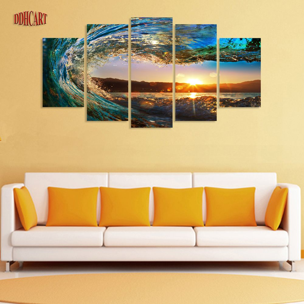 5 Piece Waves Seaviewl Picture Painting on Canvas for Wall Art ...