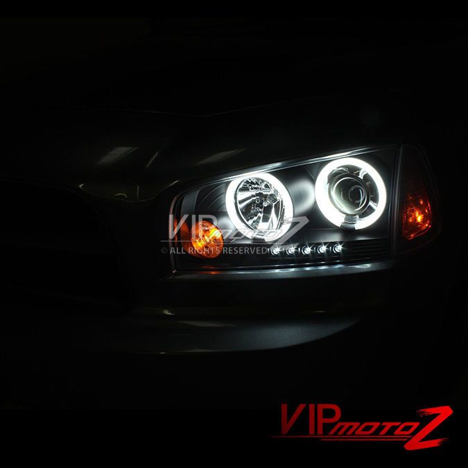 For 06 10 Dodge Charger Halo Angel Eye Led Projector Black Headlight Signal Lamp Dodge Charger Black Headlights Led Projector