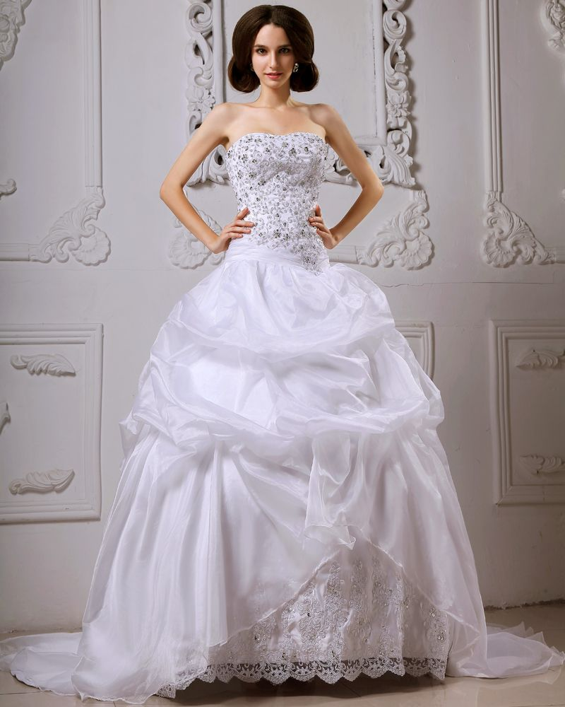 Beaded ball gown wedding dress  Satin Catch Bubble Beading Floral Arrangements Cathedral Train Ball
