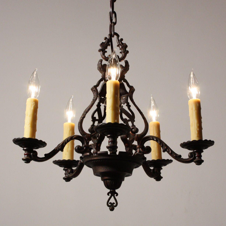 Magnificent Antique Figural Five Light Chandelier, Cast Iron . - Magnificent Antique Figural Five Light Chandelier, Cast Iron