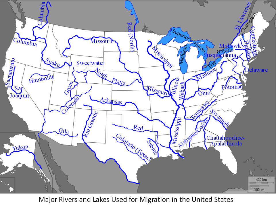 Us Map With Rivers Mountains And Lakes