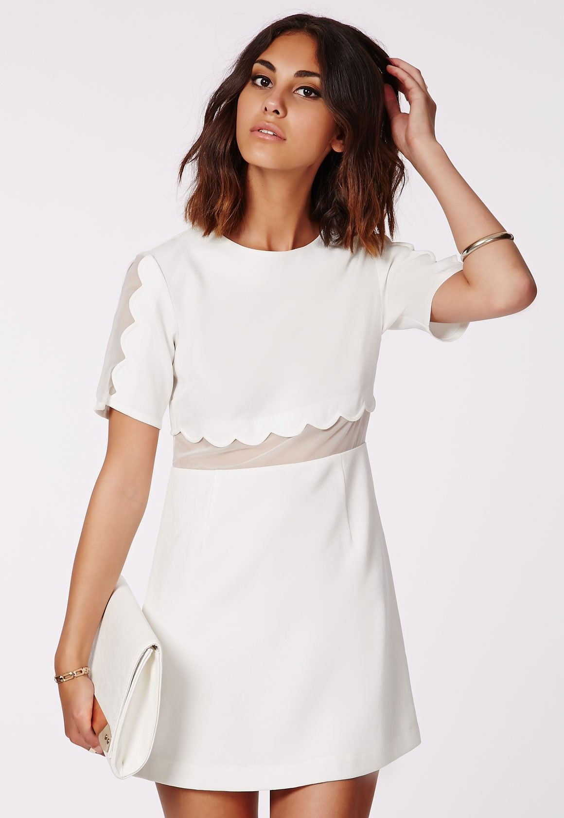 Verity Crepe Scallop Shift Dress - Mini Dresses - Missguided  d50ff767cf56e