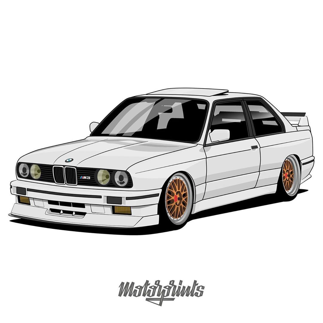 Motorprints On Instagram Bmw M3 E30 Owner Lw M3 Order Illustration Of Your Car Write Me In Direct Message Or Email Contact I Bmw M3 Bmw E30 Bmw Art