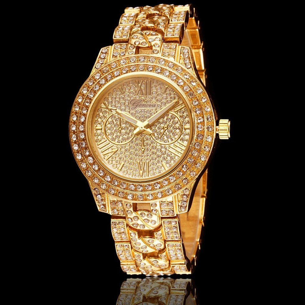 Men Women Luxury Gold Diamond Bling Geneva Watch My