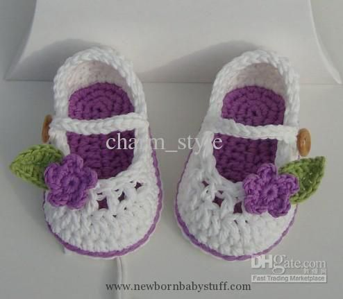 Crochet Baby Booties For Little Girl Ivory And Blue With Flowers