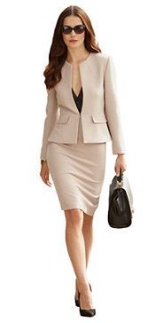 For my next job. Beige classic suit with collar-free blazer. This ...