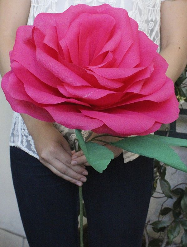 DIY: Giant Paper Rose For Your Wedding Bouquet | Flower crafts ...