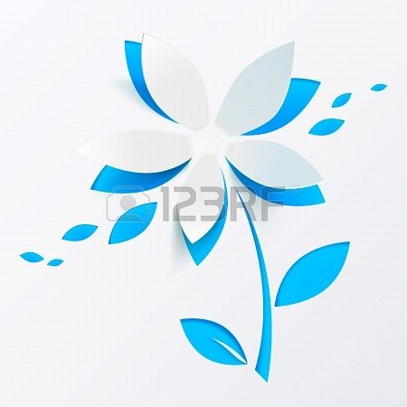 Blue paper flower vector greeting card template Paper Crafts - editable leaf template
