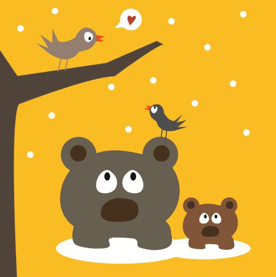 Affiche les ours en promenade b b et affiche - Poster chambre enfant ...