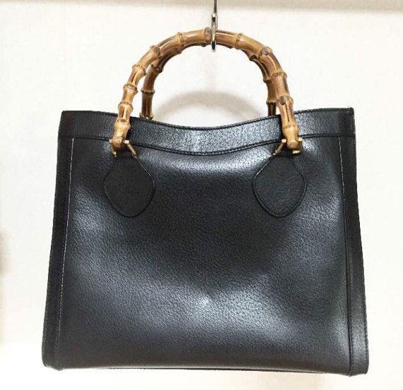f8b006763 Gucci vintage bamboo handles black pebble leather tote handbag ...
