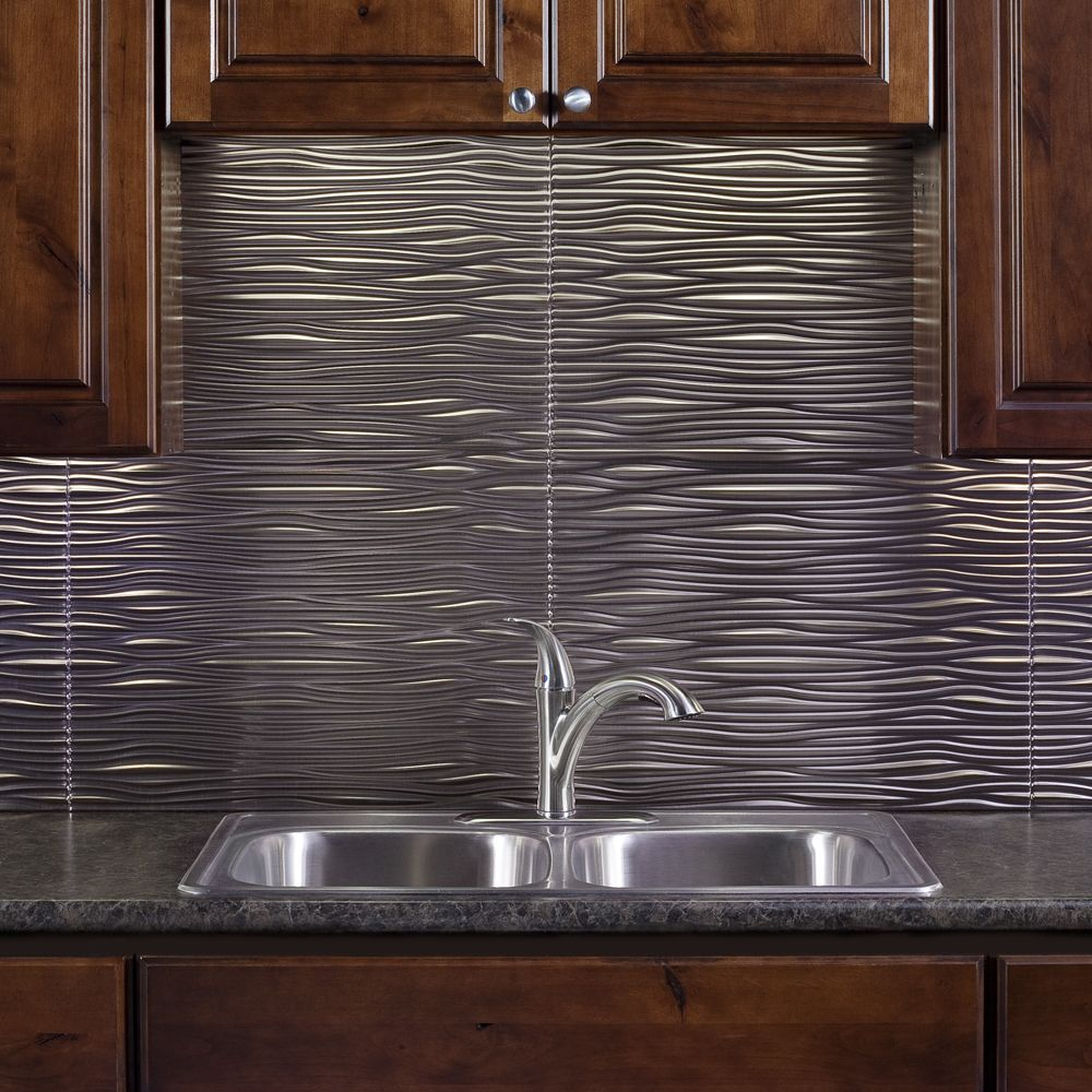 the backsplash panels are easy to install and can be cut with a scissors or tin snips to create. Black Bedroom Furniture Sets. Home Design Ideas