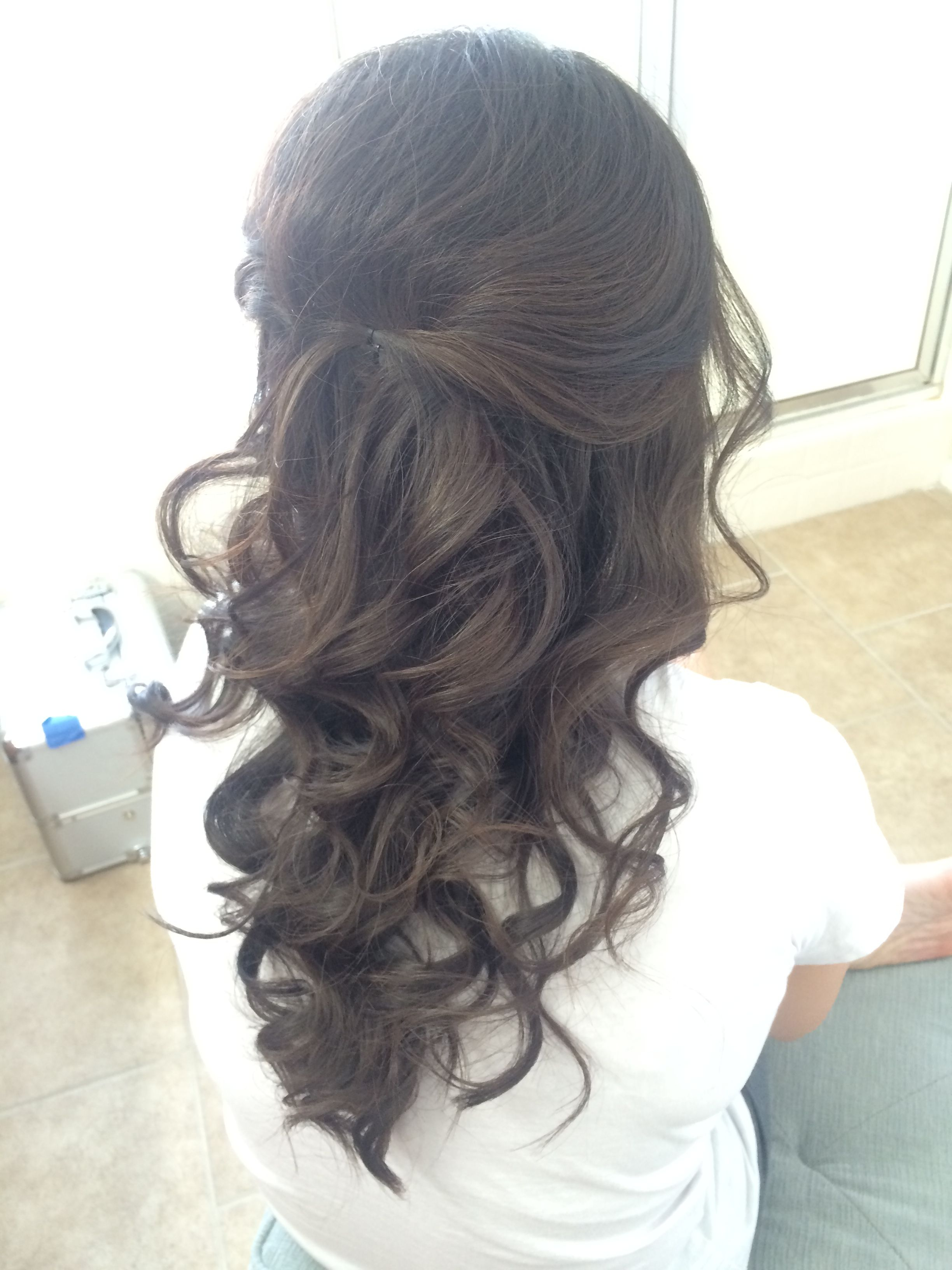 bride updo half up and half down loose curled | shaina melei