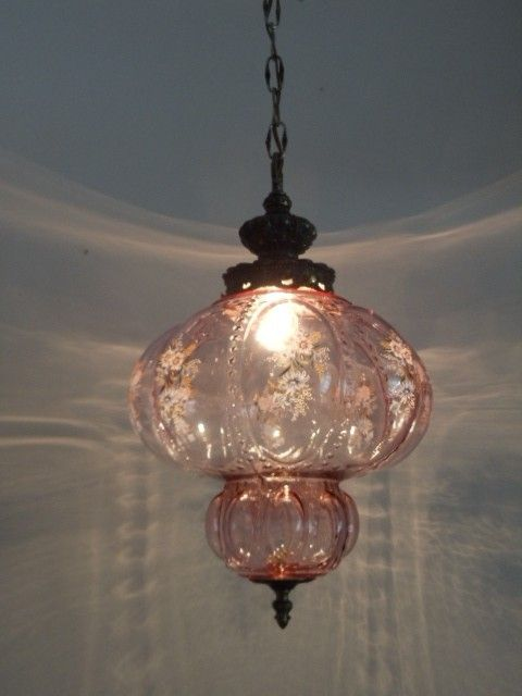 Antique Pink Glass Pendant Lamp Fenton Glass Pendant Lamp Pink Glass Victorian Lamps