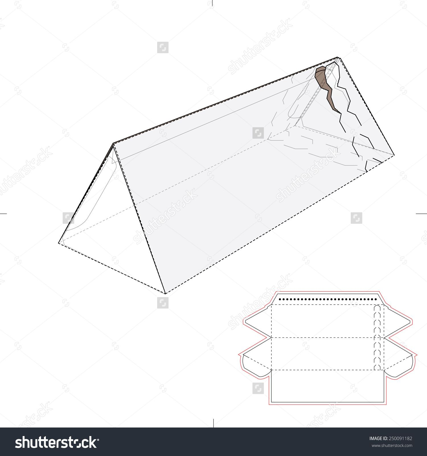 Triangular Tube Box With Zipper Seal And Die Cut Template Stock Vector Illustration 250091182 Shutterstock