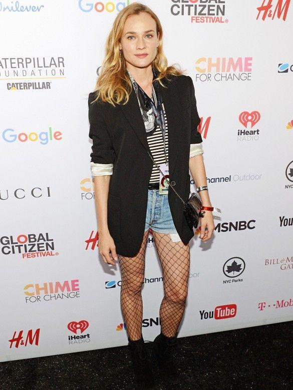 dc3fdb4ed3866 Diane Kruger wears a striped t-shirt, blazer, bandana, belted cutoffs,  fishnet tights, black boots, and a mini Chanel bag