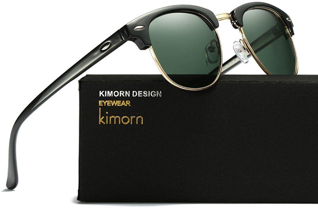 Kimorn Polarisierte Sonnenbrille Unisex Retro Halb-Randlos Rahmen ...