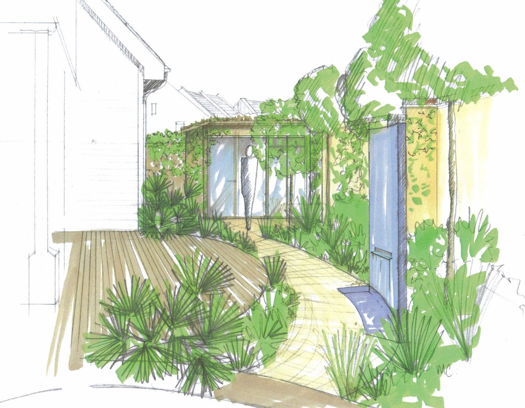 garden illustration in copic markers by grozone landscape design