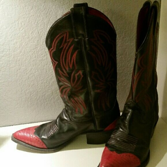 Justins all leather cowboy boots Size 8b red and black leather boots. Justin brand justin boots Shoes