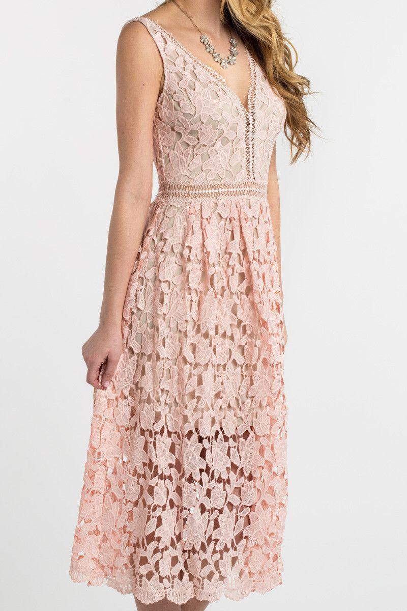 Isabella Pink Lace Crochet Midi Dress | Ropa de oficina, Vestiditos ...