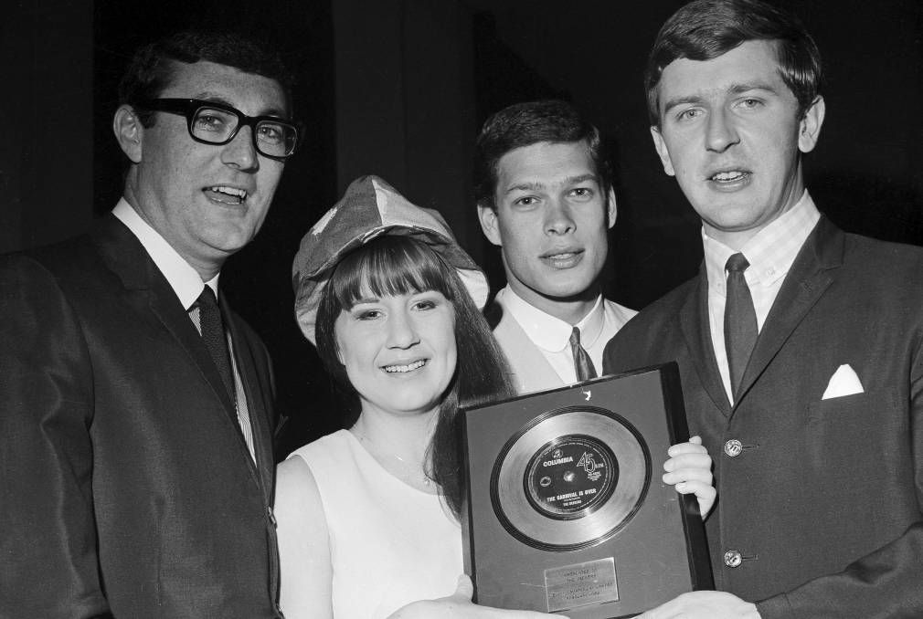 The Seekers in 1966, from left, Athol Guy, Judith Durham, Keith Potger and Bruce Woodley, with the EMI Gold record Award f…   Celebrity singers, Woodley, Music star