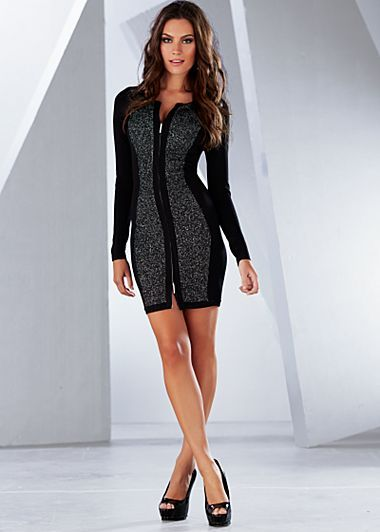 bbd639ceea36fd Zip front sweater dress with black panel side effects is give a super  slimming look. And goes great with black pump high heels or even black  boots.
