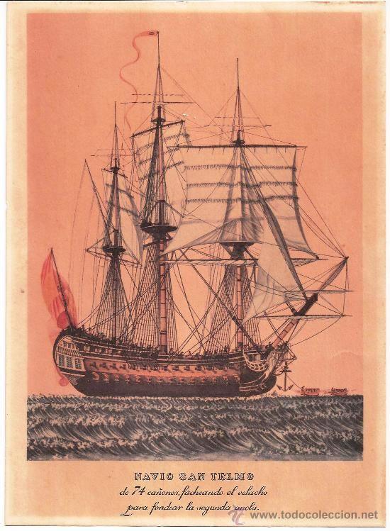 Museo Naval De Madrid.Vr263 Lamina De Acuarela Navio San Telmo Coleccion Museo Naval De