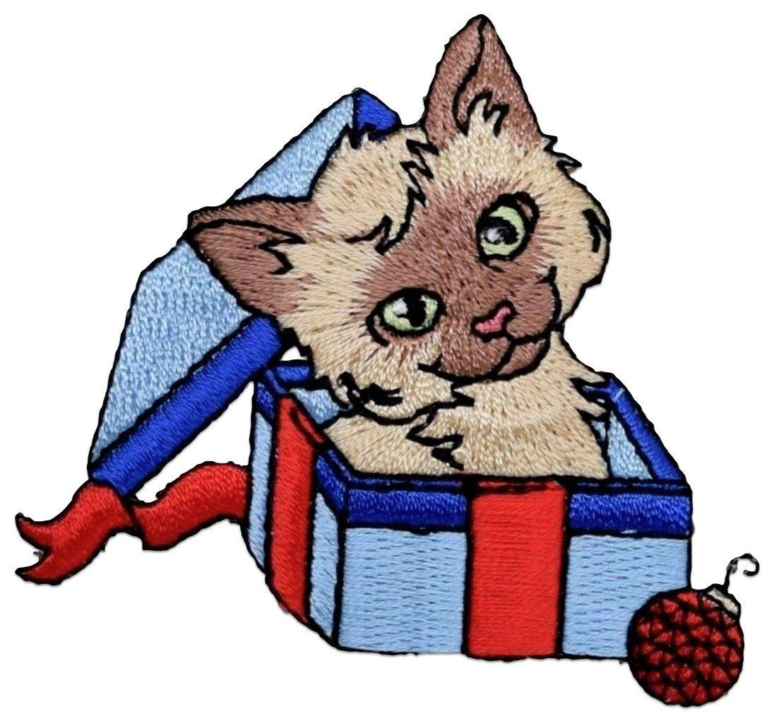 """Amazon.com: [Single Count] Custom and Unique (2.7"""" x 2.5"""" Inch) Festive Christmas Kitty Cat In A Present Box Iron On Embroidered Applique Patch {Blue, Red, & Brown Color}"""