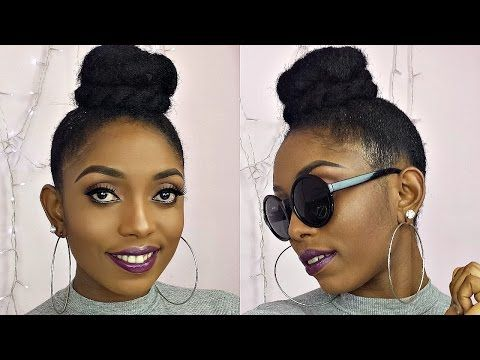 How To High Bun Top Knot Tutorial On Short 4c Natural Hair Four Unique Styles Hair Styles Natural Hair Styles Short Natural Hair Styles