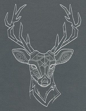 Photo of Slight geometric seams form a majestic deer head. Beautiful on pillows and …