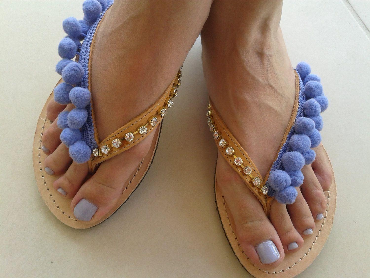 Greek Leather Shoes  Summer Pom pom Sandals  by BeSerendipity, €45.00